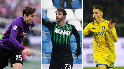 Da sinistra, Federico Chiesa (21 anni), Manuel Locatelli (21) e Andrea Pinamonti (19) LAPRESSE/ANSA