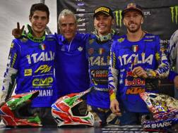Da sinistra: Cervellin, Traversini, Lupino e Cairoli al Motocross delle Nazioni