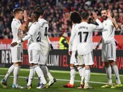 L'esultanza dei giocatori del Real Madrid. Getty