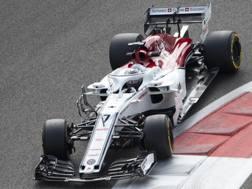Kimi Raikkonen alla guida dell'Alfa nei test. Getty