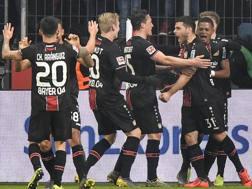 L'esultanza del Bayer Leverkusen. Ap