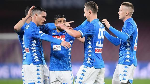 L'esultanza dei giocatori del Napoli. Getty