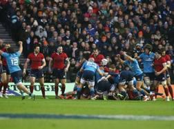 La meta tecnica azzurra della vittoria del 2015 a Edimburgo. Afp