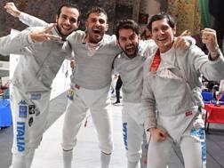 Il quartetto azzurro festeggia la vittoria di Varsavia.