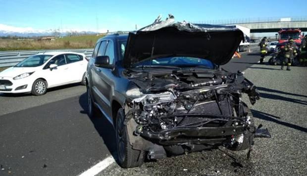 רכבו של קוסטה בעקבות התאונה . נלקח מעיתון הגזאטה.