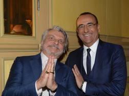 Massimo Ferrero e Carlo Conti alla serata per Genova. Bozzani