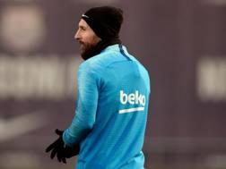 Leo Messi si allena. Afp