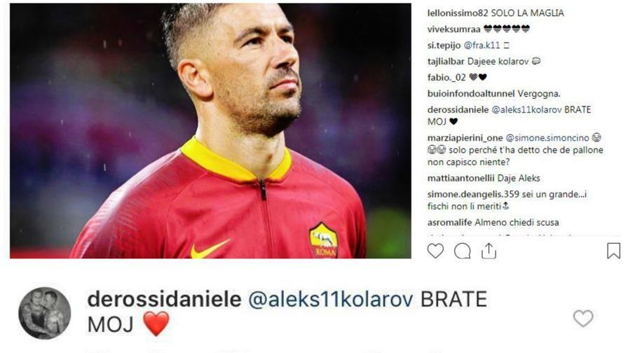 """De Rossi difende Kolarov  Su Instagram: """"Fratello mio"""""""