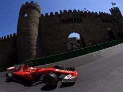 Vettel in azione nel GP di Baku del 2017. Afp