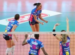 L'esultanza delle giocatrici di Novara per la vittoria su Minsk. Cev.lu