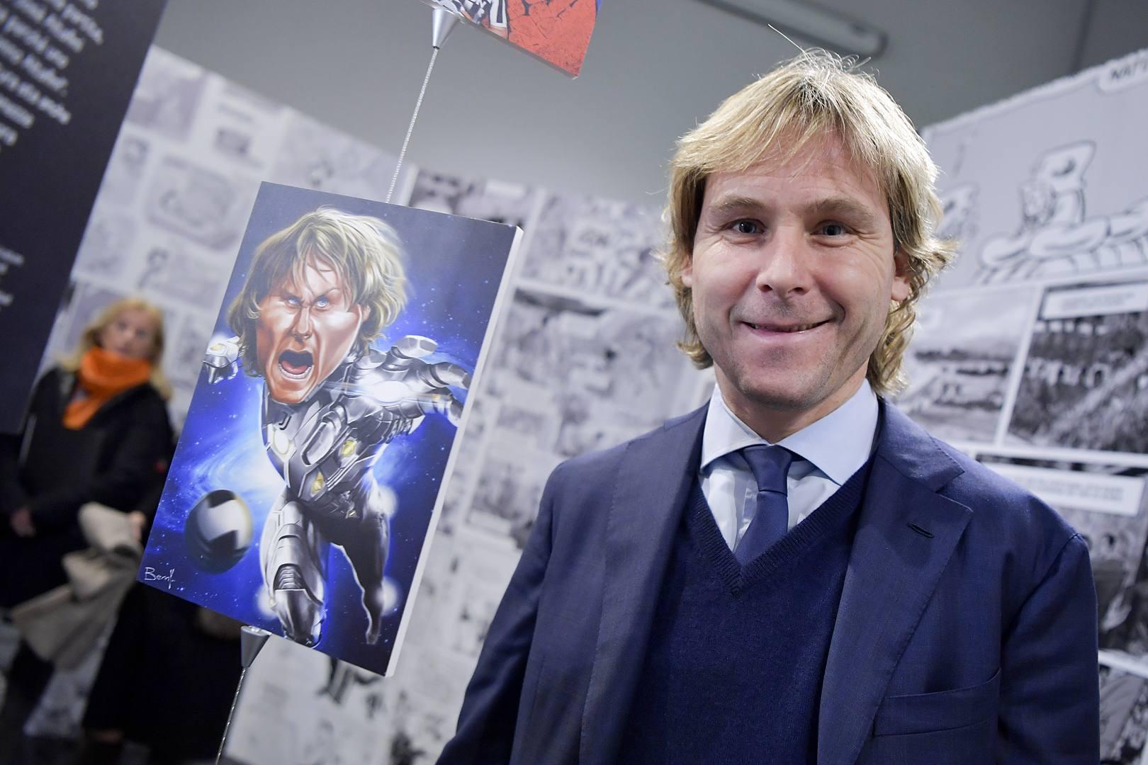 Pavel Nedved alla mostra 'Gulp! Goal! Ciak. Calcio e fumetti'. Getty