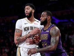 Anthony Davis e LeBron James, compagni all'All Star Game. AFP