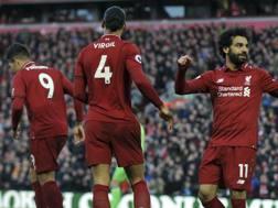 L'esultanza di Salah, autore del 3-0 contro il Bournemouth. AP