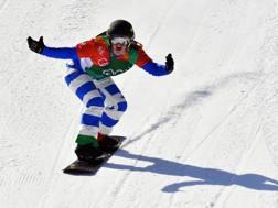 L'esultanza di Michela Moioli nel 2018 alle olimpiadi invernali di Pyeongchang. LaPresse