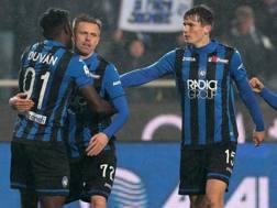 L'esultanza dei giocatori dell'Atalanta durante la partita con la Spal GETTY