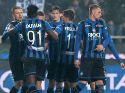 L'esultanza dei giocatori dell'Atalanta, vittoriosa sulla Spal nell'ultima gara di campionato. Getty