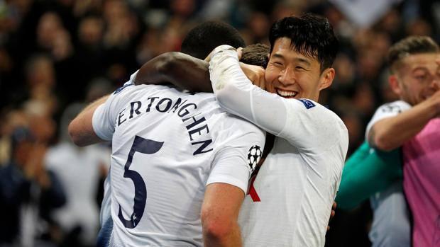 L'esultanza del Tottenham. Afp