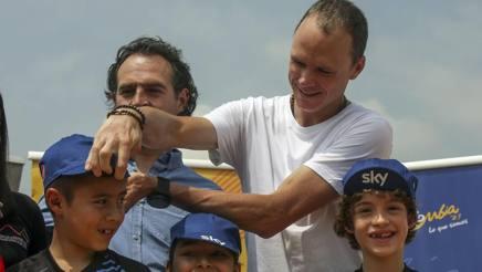 Chris Froome, 33 anni, accolto con grande calore in Colombia. AFP