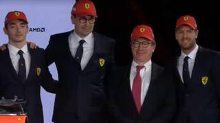 Da sinistra Leclerc, Binotto, Camilleri e Vettel