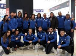 Gli azzurri alla partenza per Sofia