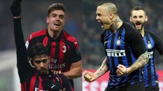 Le esultanze di Milan e Inter. LaPresse-Ansa