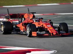 Vettel in azione al Montmelò con tanti sensori sulla sua Ferrari. Getty