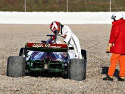 L'Alfa Romeo Racing di Raikkonen nella sabbia. Getty