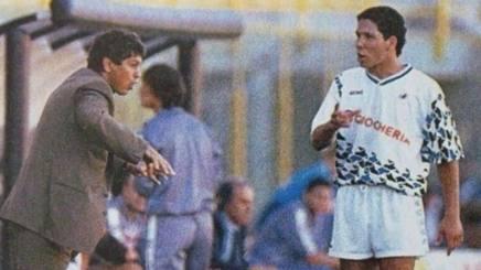 Mircea Lucescu, oggi 63enne, con Diego Simeone al Pisa nel 1990-91