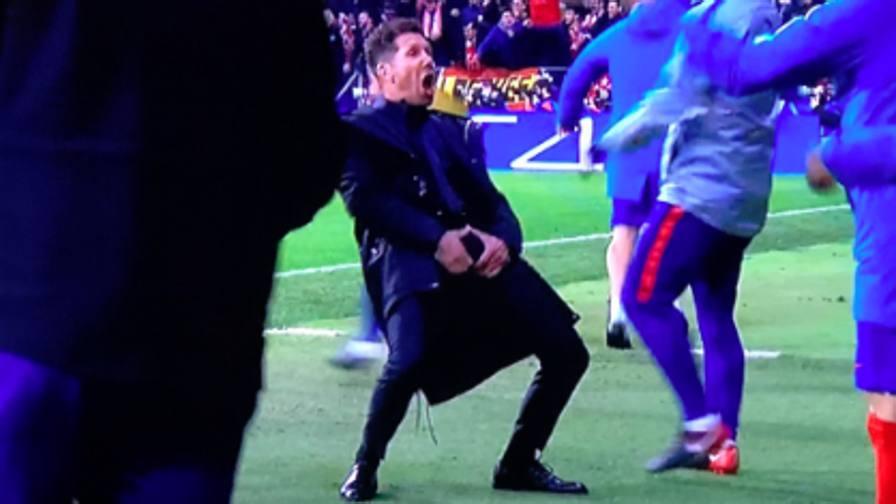 L'Atletico segna il raddoppio Simeone esulta senza freni