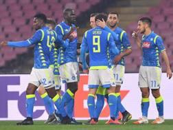 L'esultanza dei giocatori del Napoli. Lapresse