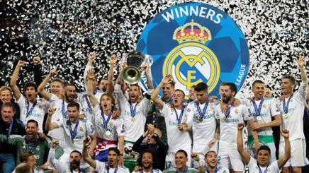 I festeggiamenti del Real Madrid per la vittoria della Champions League 2018. Epa