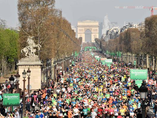 L'ultima edizione della maratona di Parigi, il'8 aprile scorso. Afp