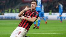 La gioia di Krzysztof Piatek, autore del primo gol del Milan sull'Empoli. Lapresse