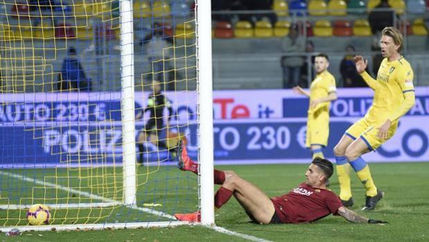 Il gol di Lorenzo Pellegrini. Lapresse