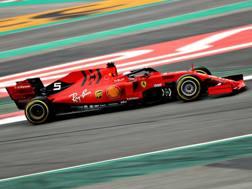 Sebastian Vettel in pista con la SF90. Getty