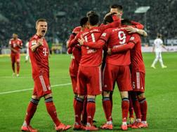 Il Bayern esulta dopo un gol. Afp