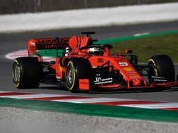 Sebastian Vettel durante i test a Montmelò. Afp