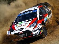 Kris Meeke in azione sulla sua Toyota