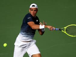 Matteo Berrettini, 22 anni, impegnato nel match a Indian Wells. Afp