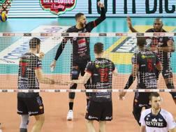L'esultanza dei giocatori della Lube Civitanova per la vittoria sulla Revivre Milano
