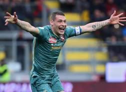Il capitano del Torino Andrea Belotti, 25 anni, festeggia per la doppietta a Frosinone. Ansa