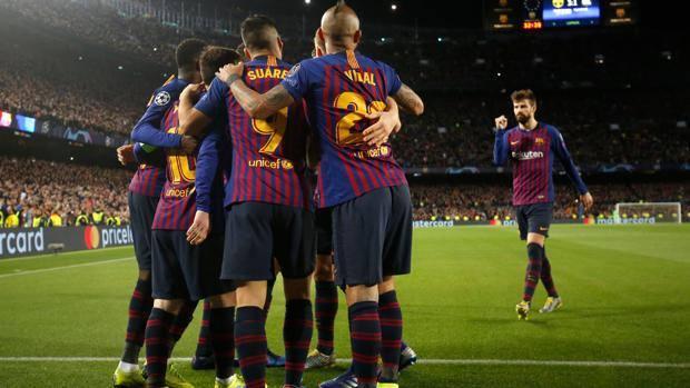 Esultanza del Barça. Afp