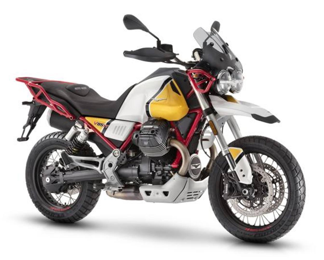 Il bianco-giallo della Moto Guzzi V85 TT è un omaggio alla V65 dakariana