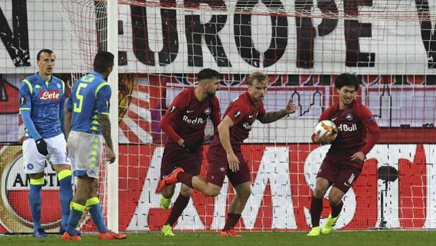 L'esultanza del Salisburgo dopo il gol di Gulbrandsen. Ap