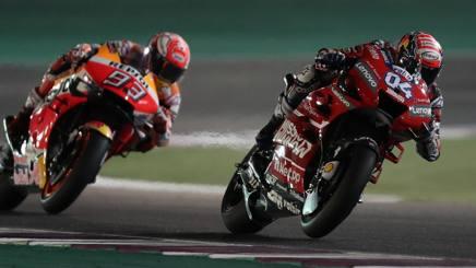 Andrea Dovizioso e Marc Marquez in Qatar. Afp
