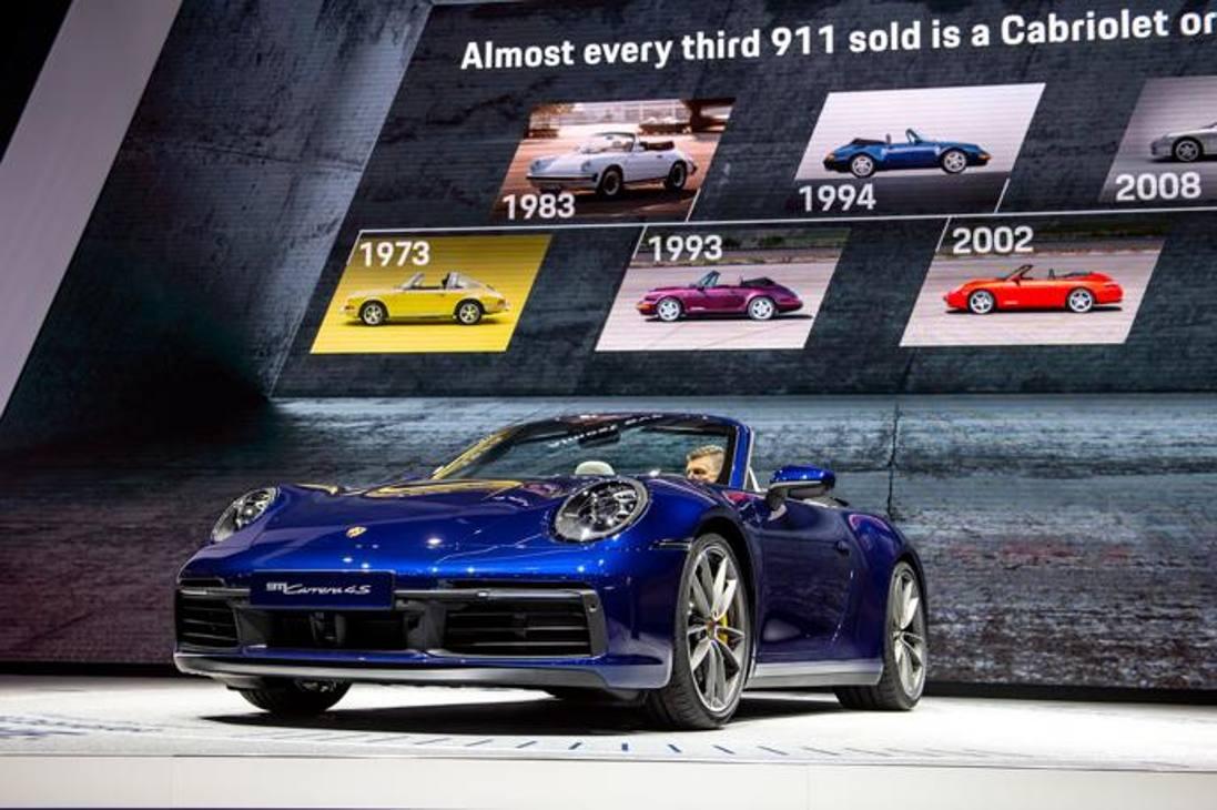 Al salone di Ginevra Porsche ha presentato la 911 Cabriolet. Getty