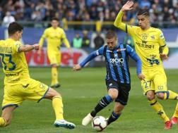 Gomez prova a liberarsi tra i difensori del Chievo. Lapresse