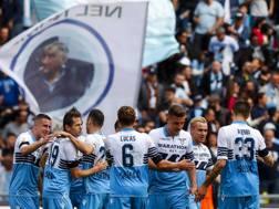 La gioia della Lazio sul gol di Lulic. Ansa