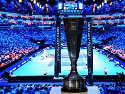 Il trofeo dell'Atp Finals. Afp