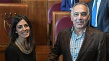 Virginia Raggi e James Pallotta. Ansa